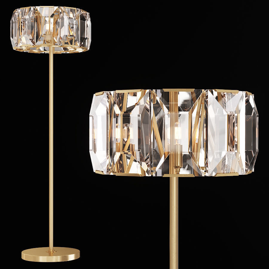 Restoration Hardware Floor Lamps >> Restoration Hardware Harlow Crystal Floor Lamp Brass 3d Model