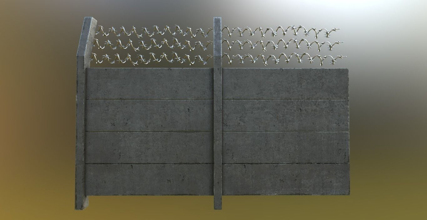 Modular Concrete Fence With Thick Barbed Wire