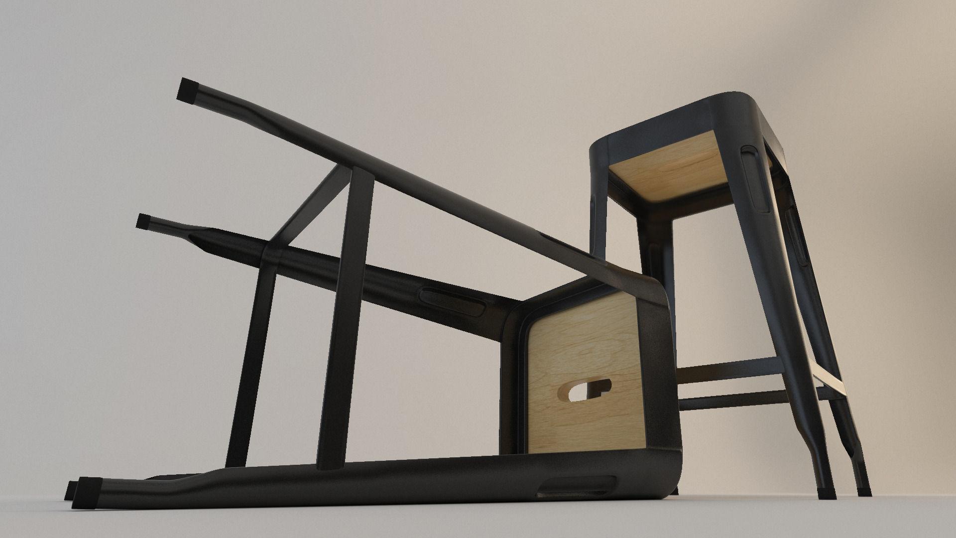 Wood And Metal Stool 3d Model Max Obj Fbx Mtl