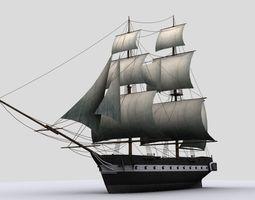 sailboat  brig game-ready 3d asset