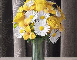 3d flowers in vase 3