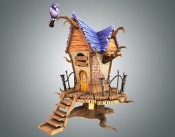 low poly creepy house 3d model low-poly