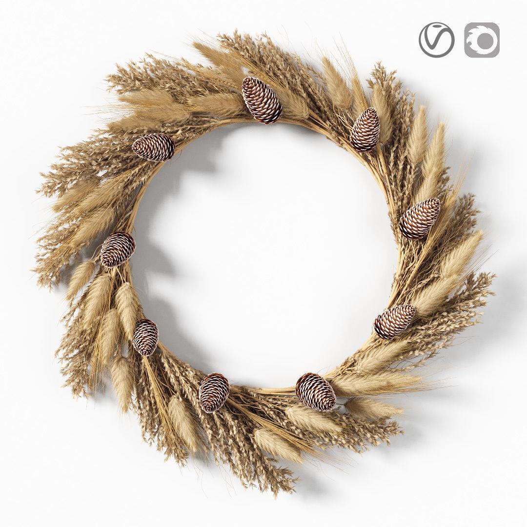 Dry grass wreath