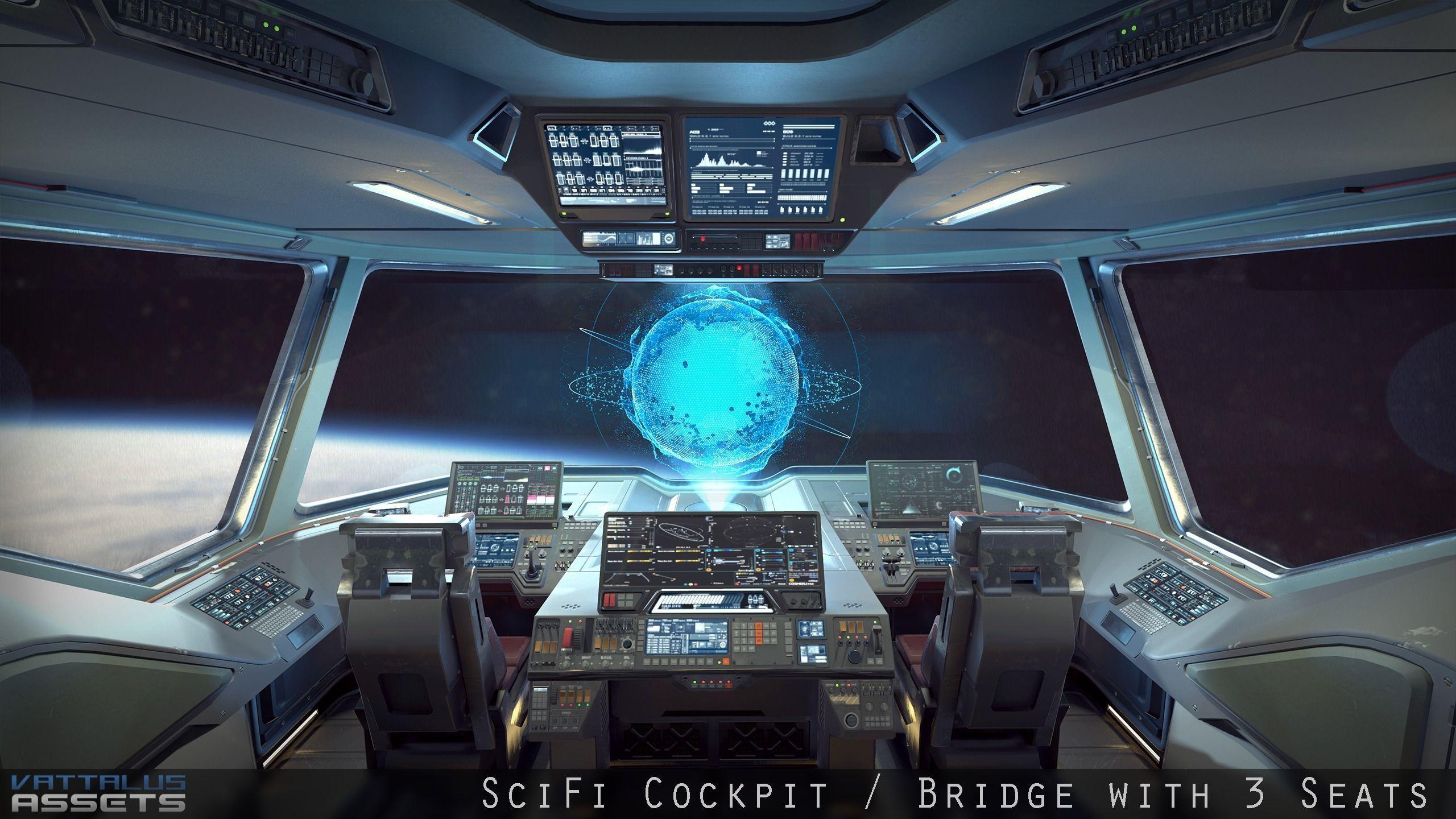 Sci Fi Fighter Cockpit Bridge 6