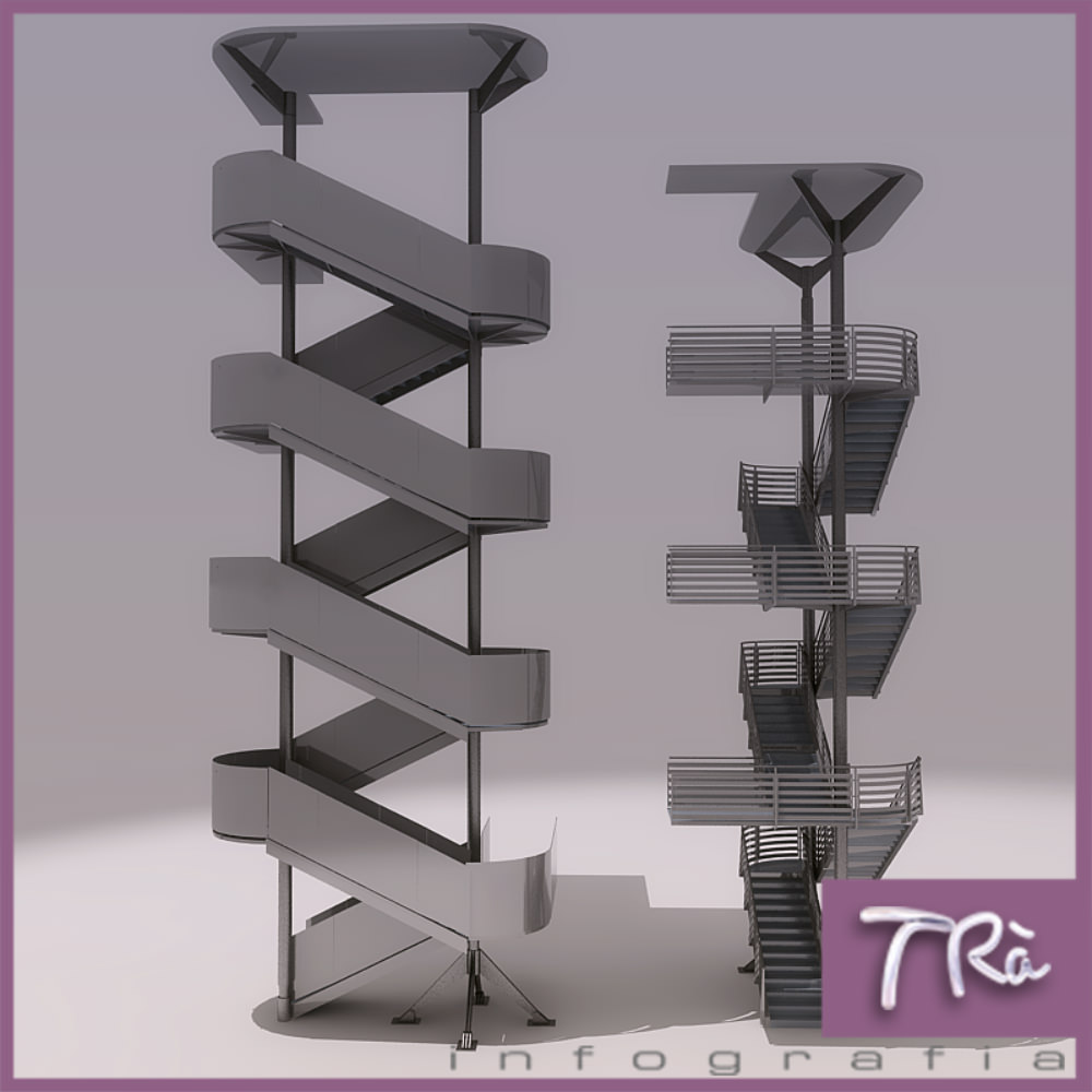 Emergency Stairs Group A 3d Model Max 1 ...