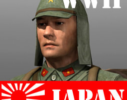 game-ready 3d asset japanese soldier and type 100