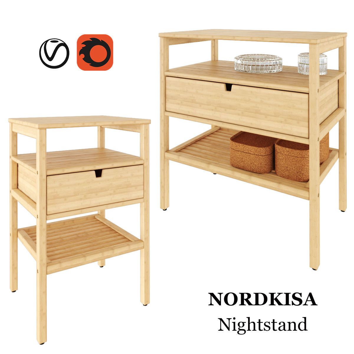 Ikea Nordkisa Nightstand 3d Model