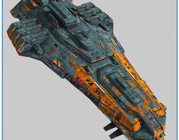 3d model lowpoly starship cruiser v2