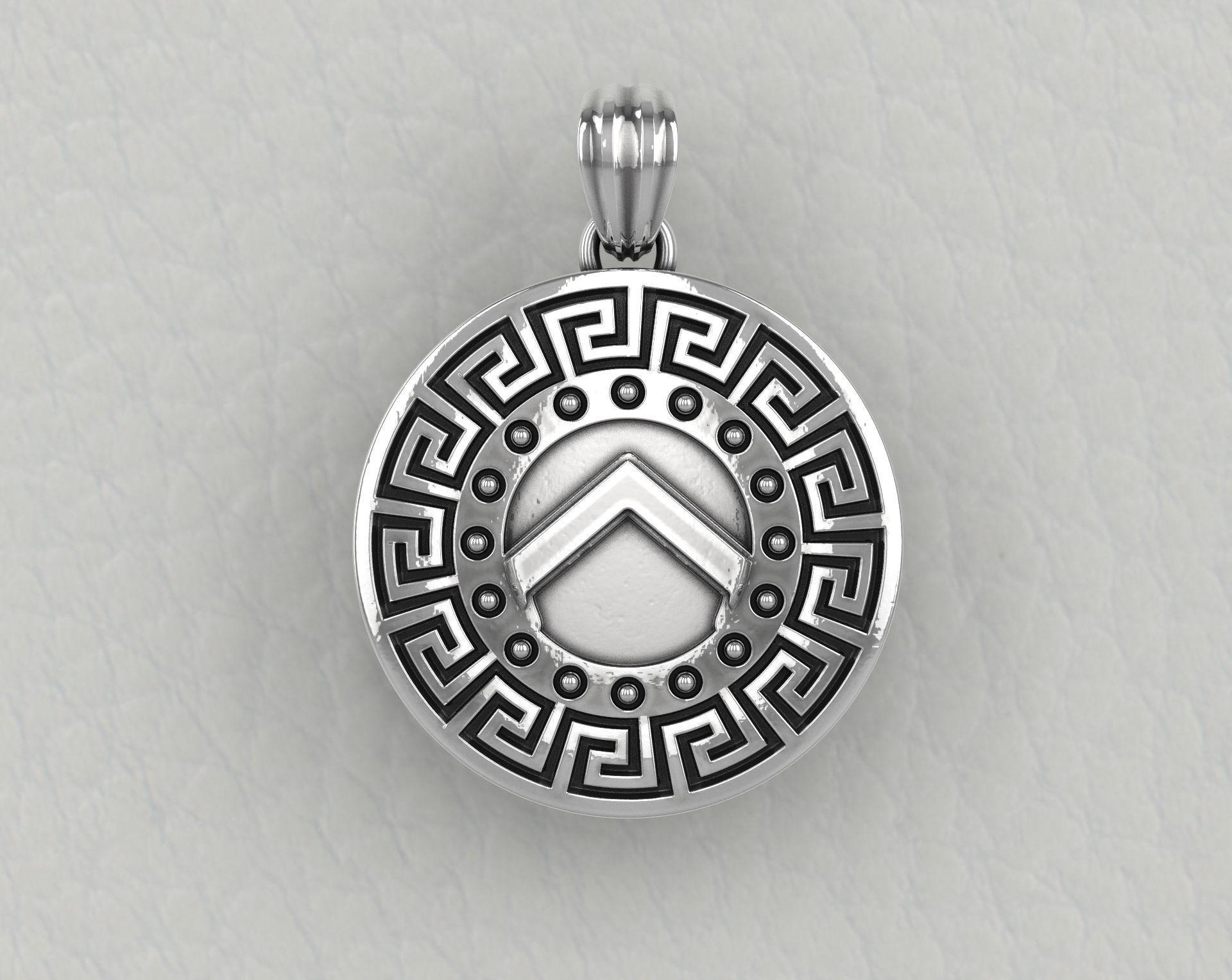 Spartan hoplite shield pendant set