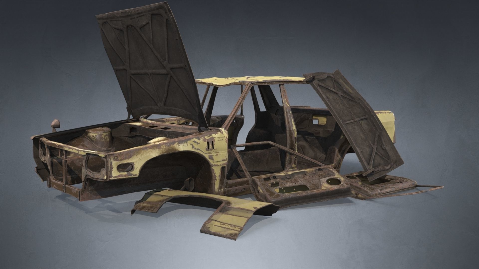 Abandoned Rusty Wrecked Sedan
