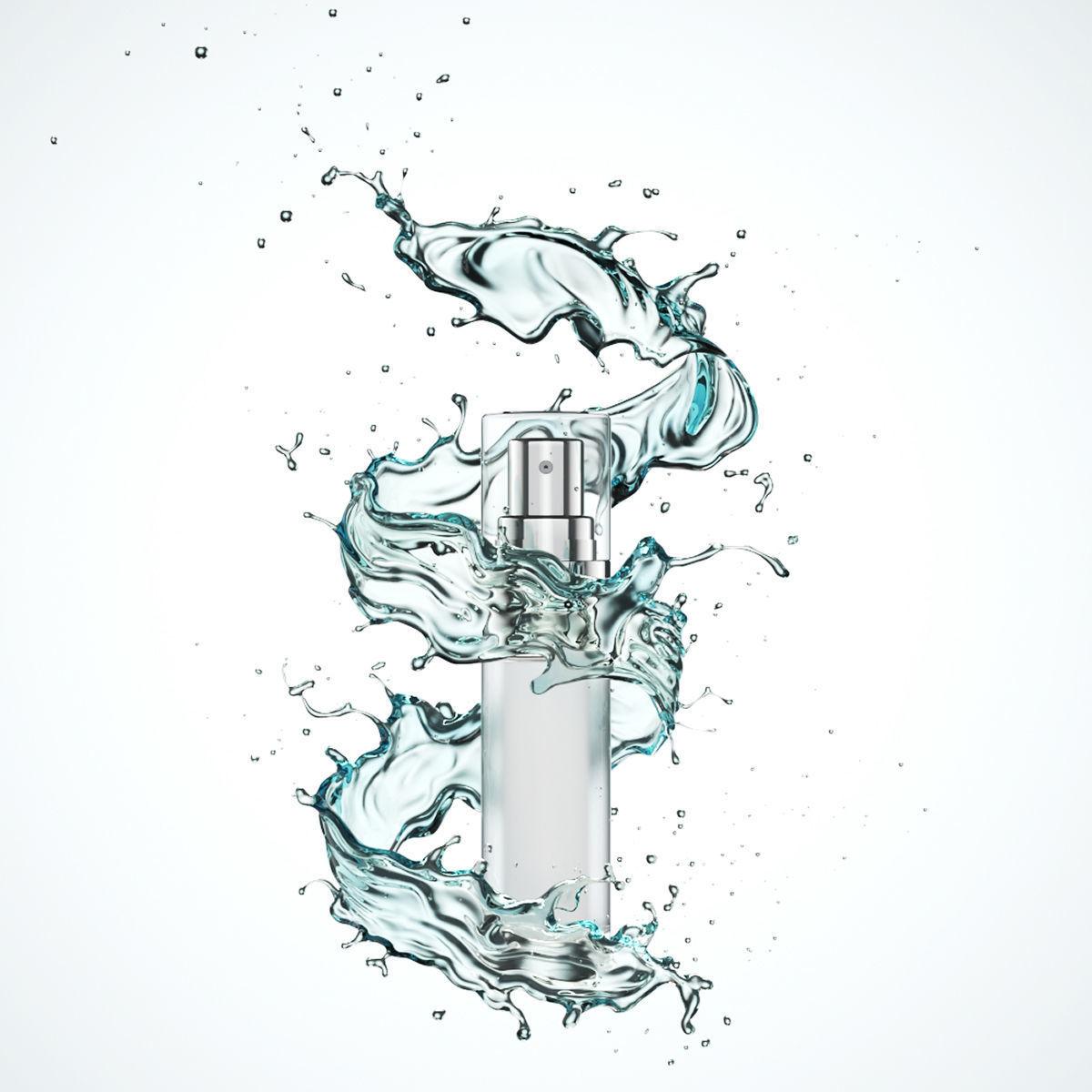 cosmetic Serum packaging tube 3D model with water liquid splash