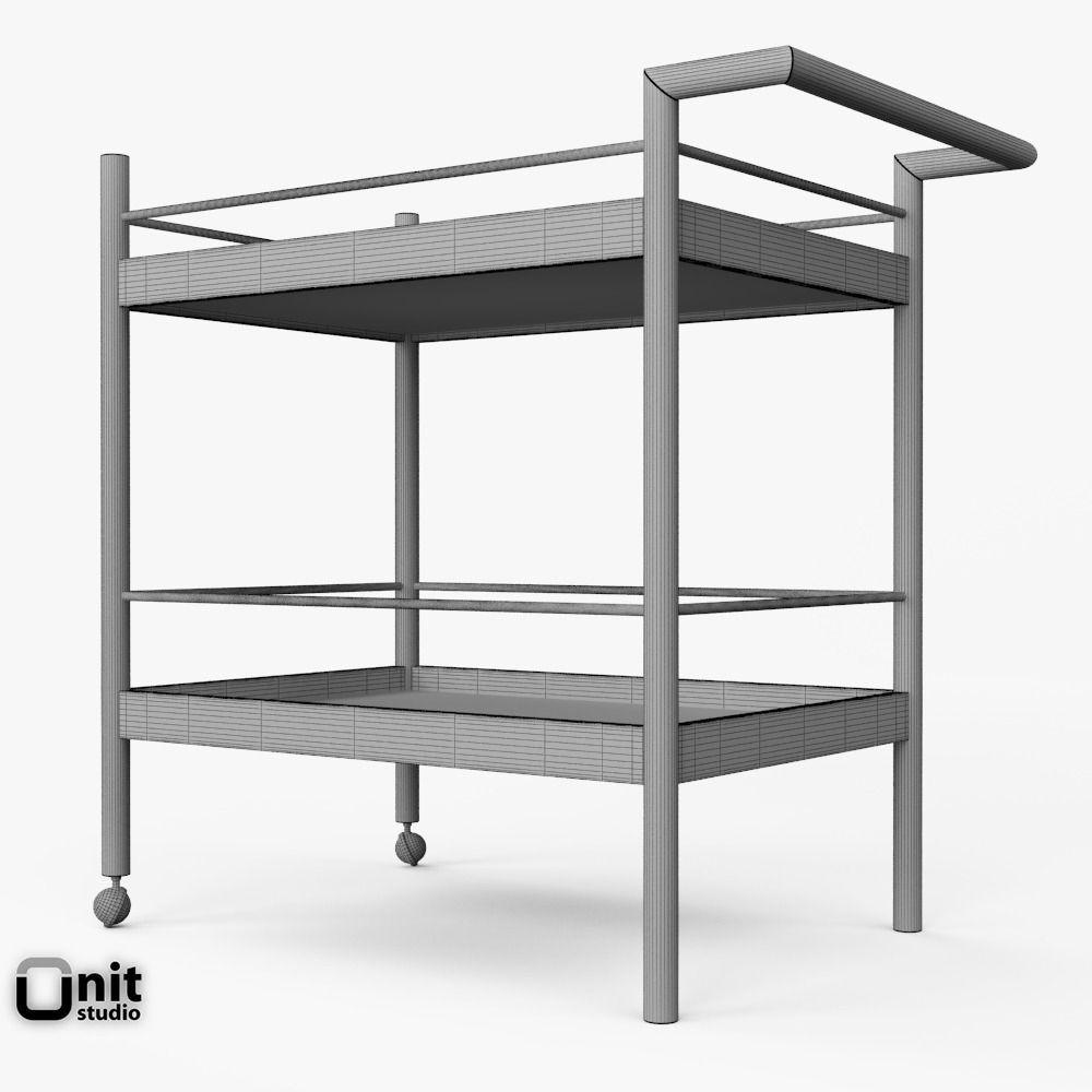 mid century bar cart by west elm 3d model max obj 3ds. Black Bedroom Furniture Sets. Home Design Ideas