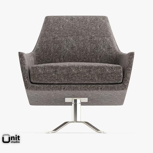 ... Lucas Swivel Base Chair By West Elm 3d Model Max Obj Mtl 3ds Fbx Dwg  Mat ...
