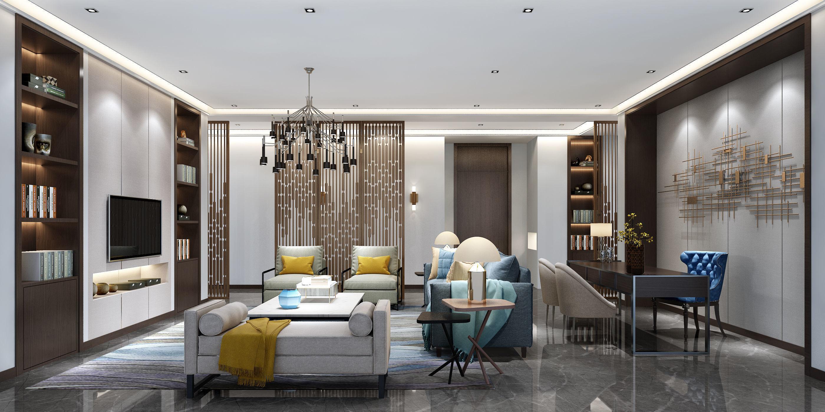 3D model of modern European style living room 3D model 3D model | 3D model