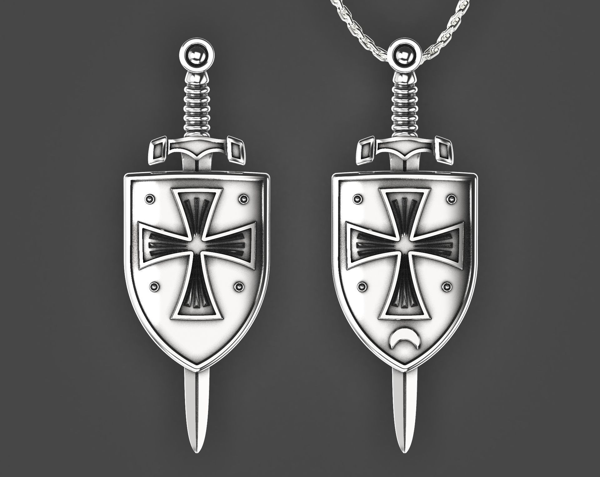 Crusader shield and sword pendant