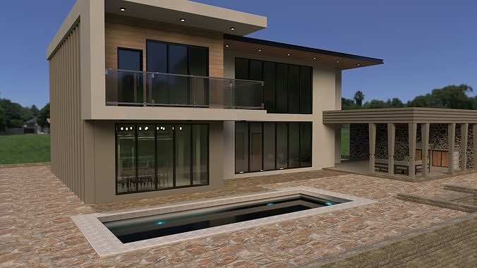 Realistic Modern Double Story House PBR