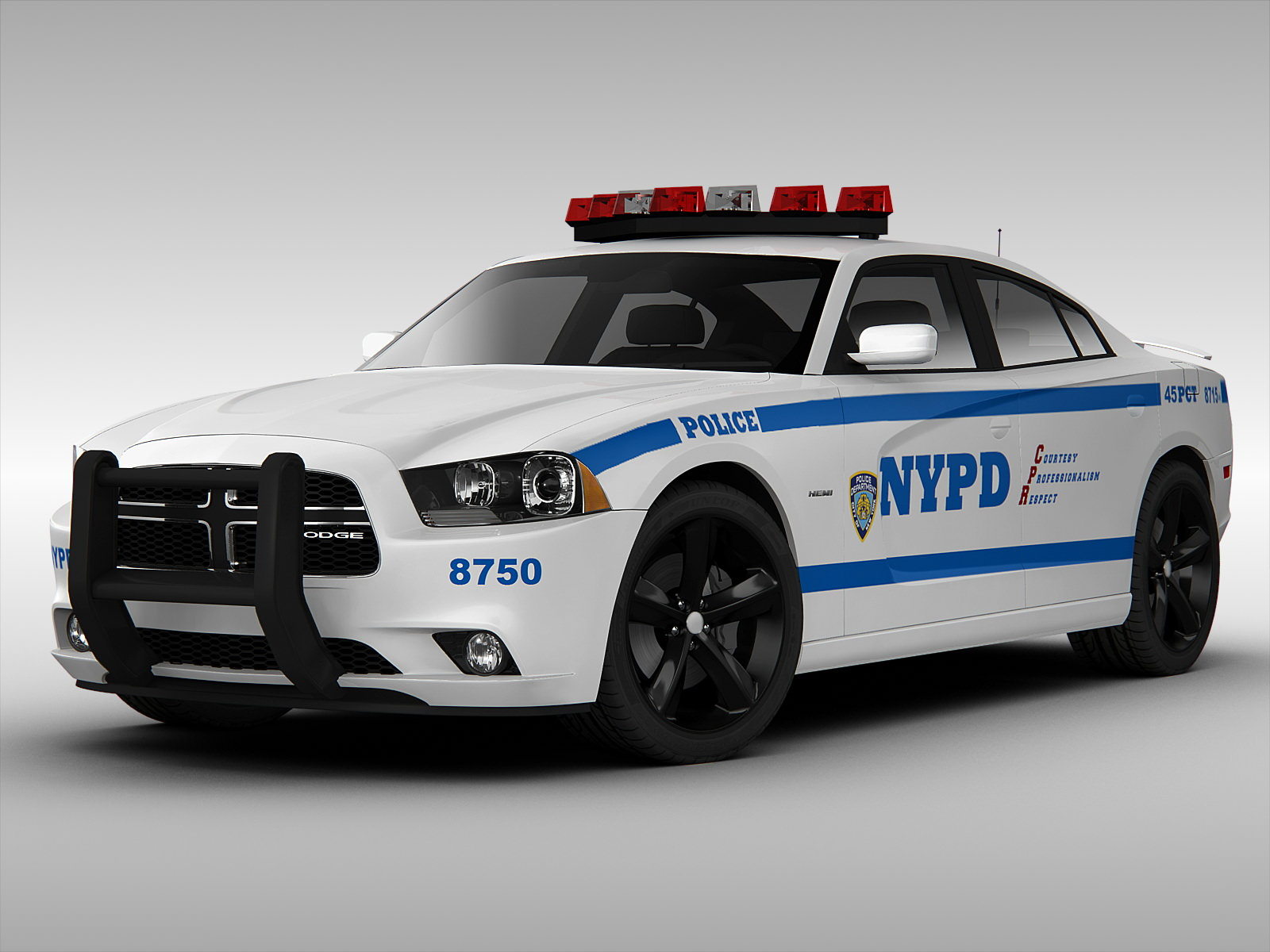 Dodge Challenger Interior >> Dodge Charger NYPD Police Car 2013 3D Model MAX OBJ 3DS FBX | CGTrader.com