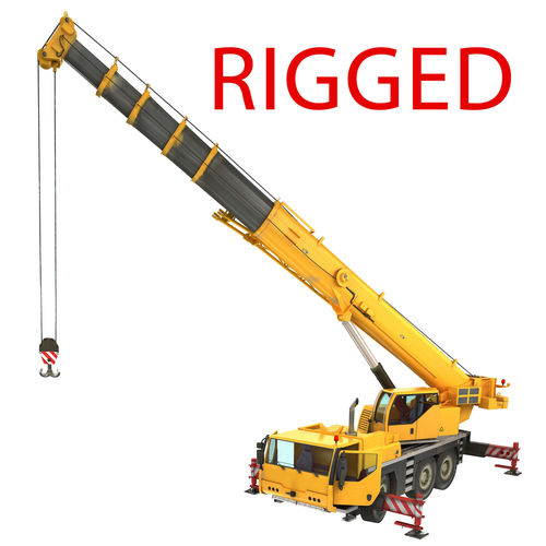 mobile crane rigged 3d model rigged max 1