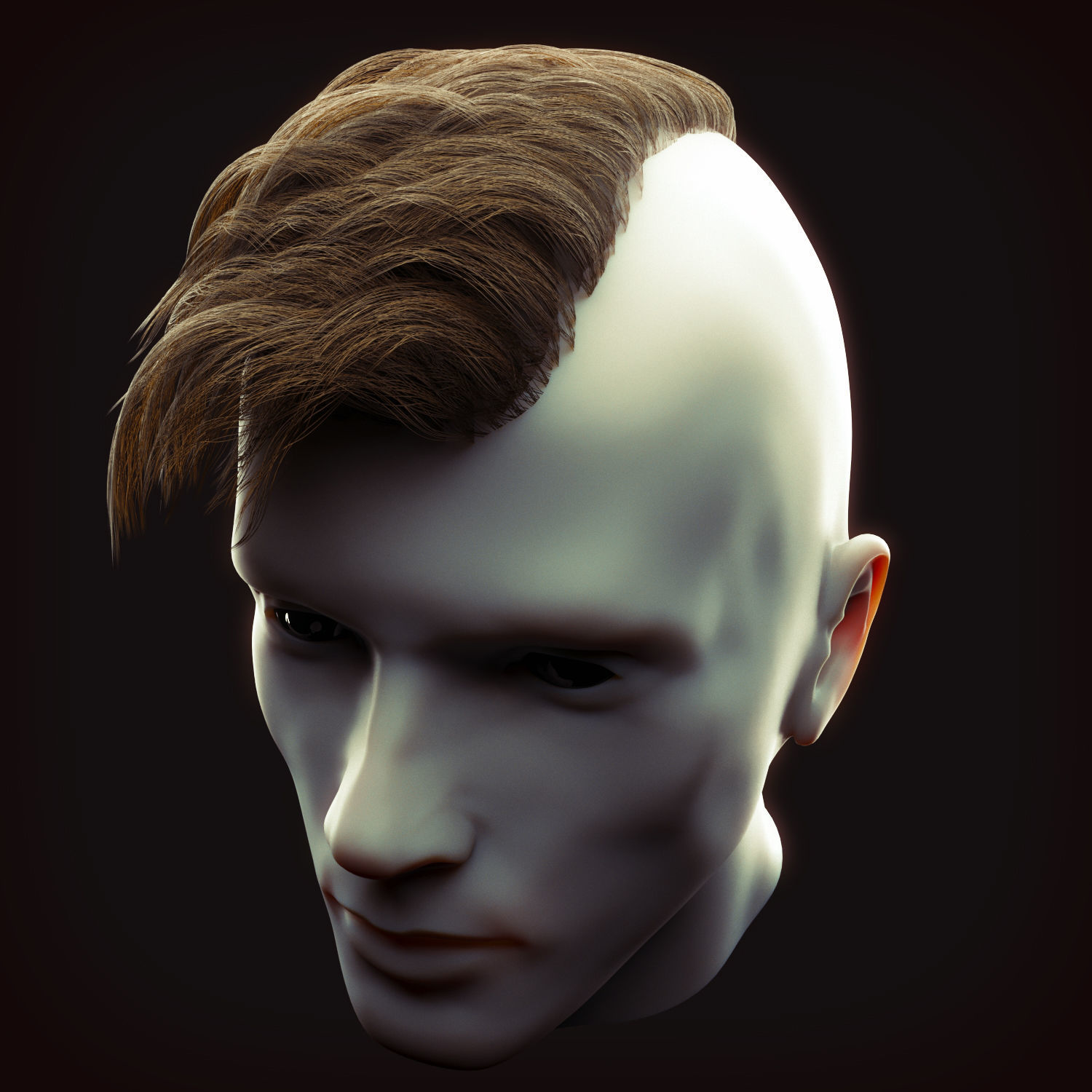 Undercut Hairstyle Low Poly 1