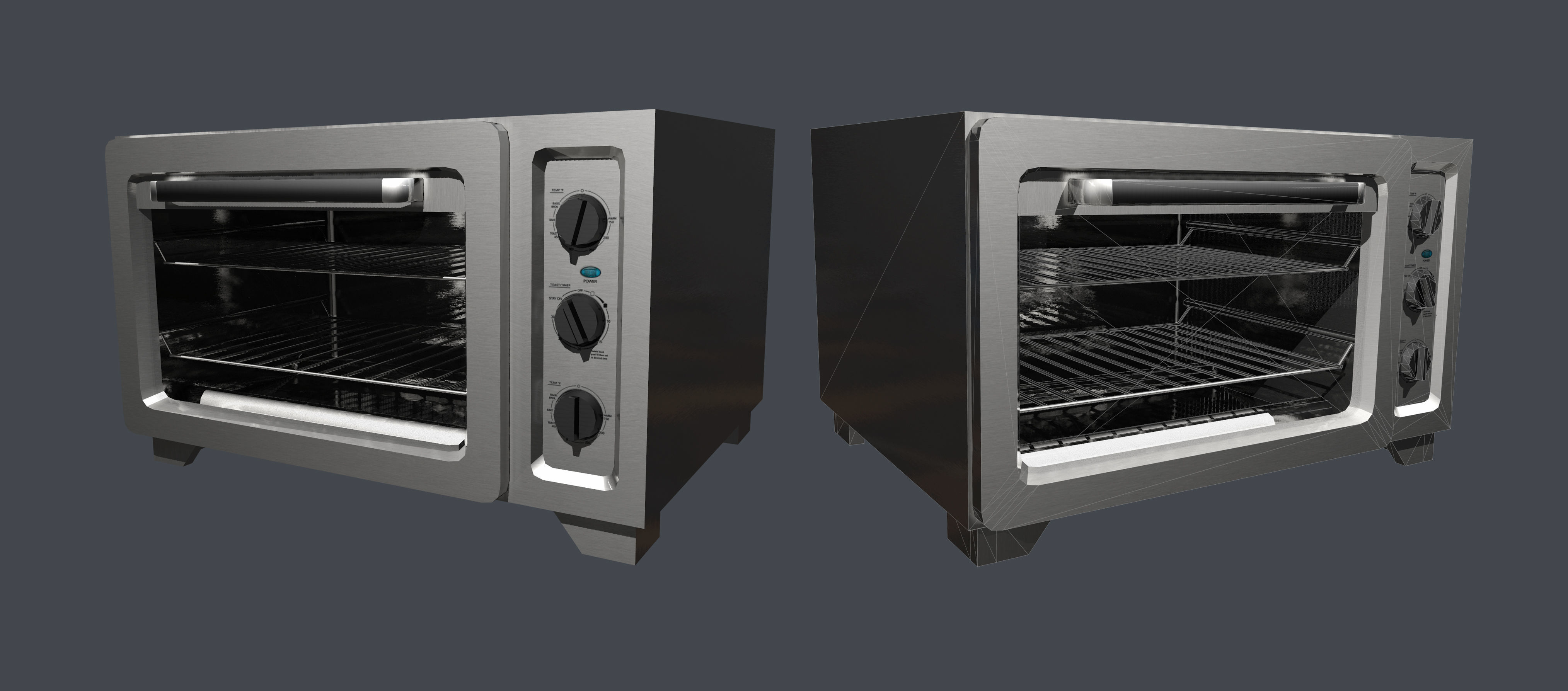 Toaster Oven Kitchenware Low Poly Game Ready