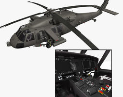 UH-60M Battlehawk with nice interior 3D Model