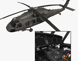 UH-60M Blackhawk with nice interior 3D Model