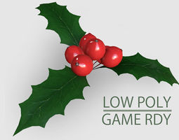 VR / AR ready 3d asset low poly mistletoe