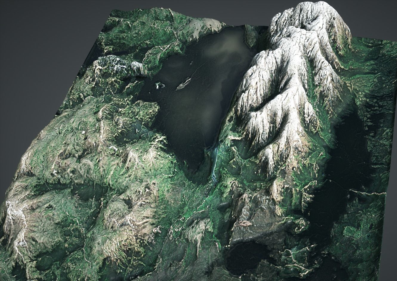 Moutains with lakes 3d scanned