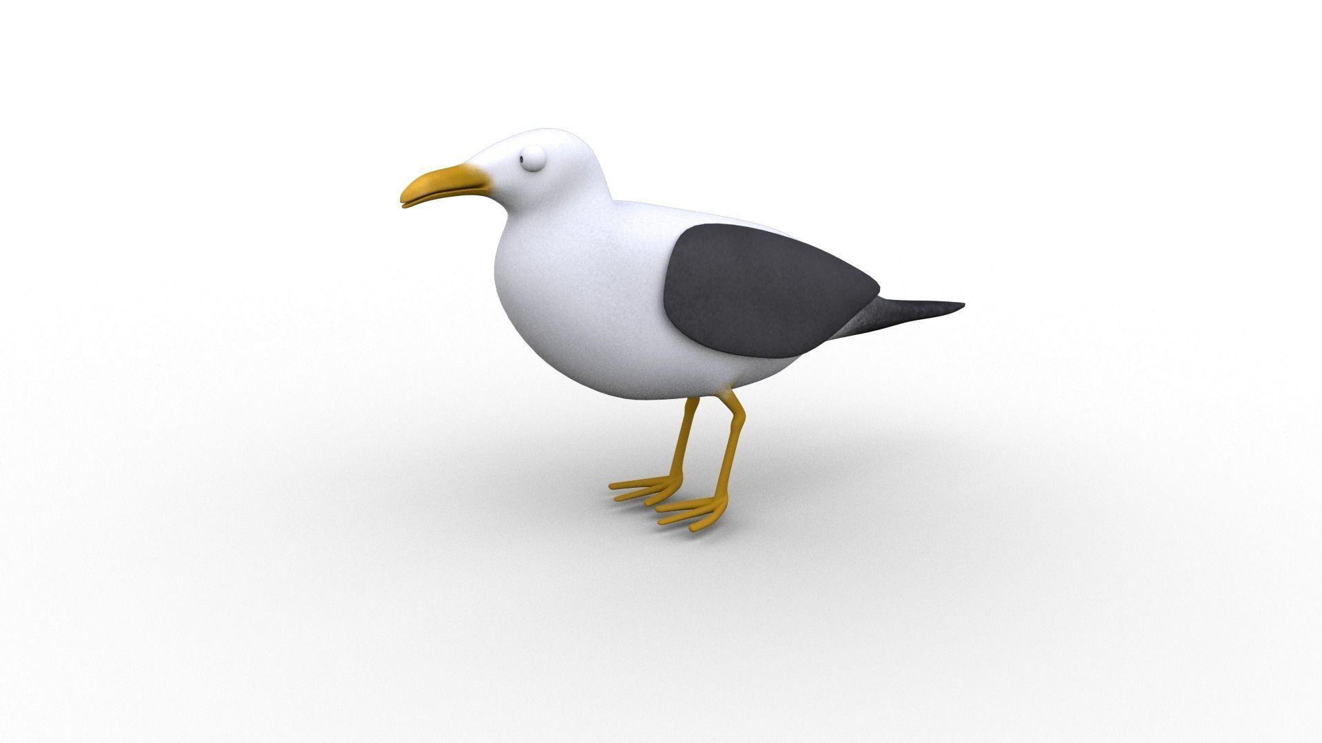 Cartoon Seagull - Rigged