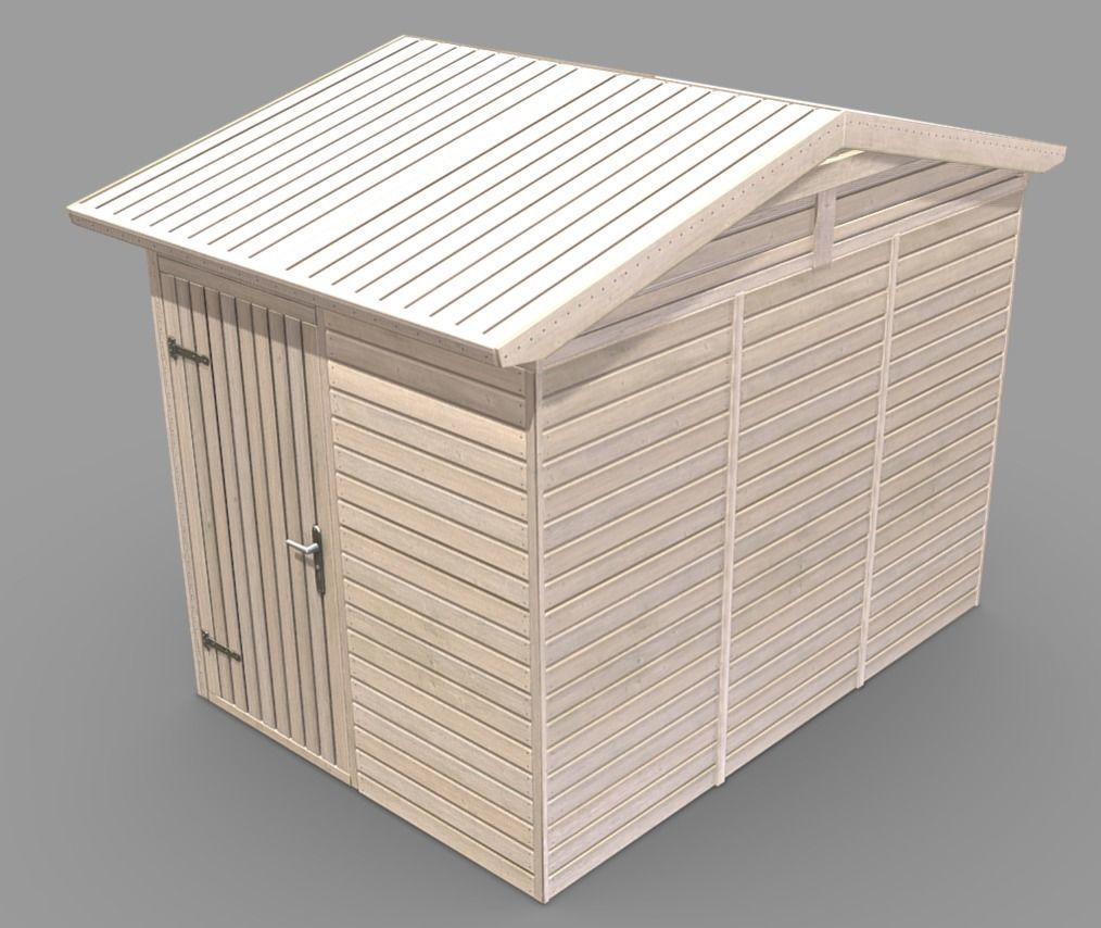 Wooden Garden Shed High-Poly Version