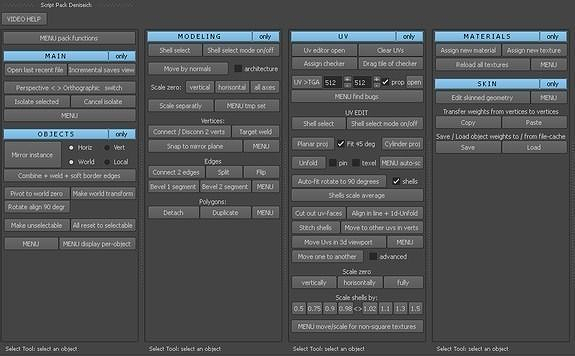 full 130 scripts for modeling uv and video tutorials maya script 3d model ma mb 1