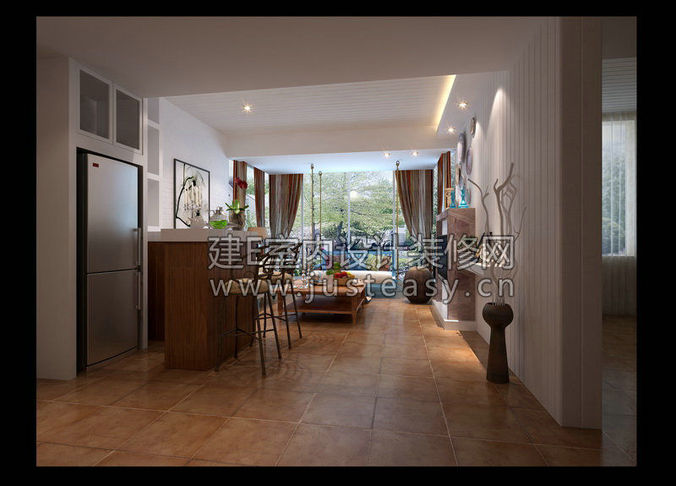 Luxury living room kitchen bathroom entran 3d model max for Living room bedroom bathroom kitchen