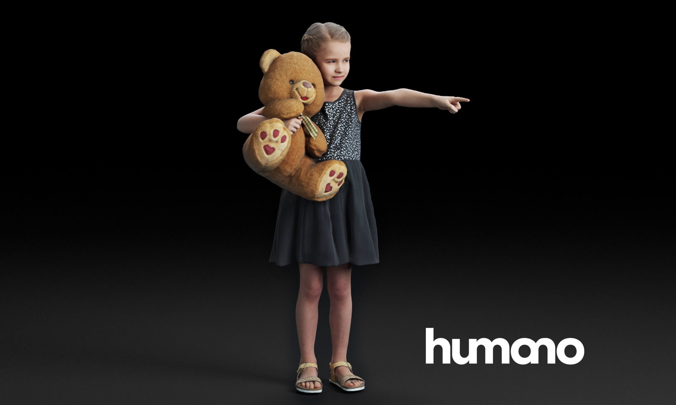 Humano Pointing girl with a taddy bear 0503