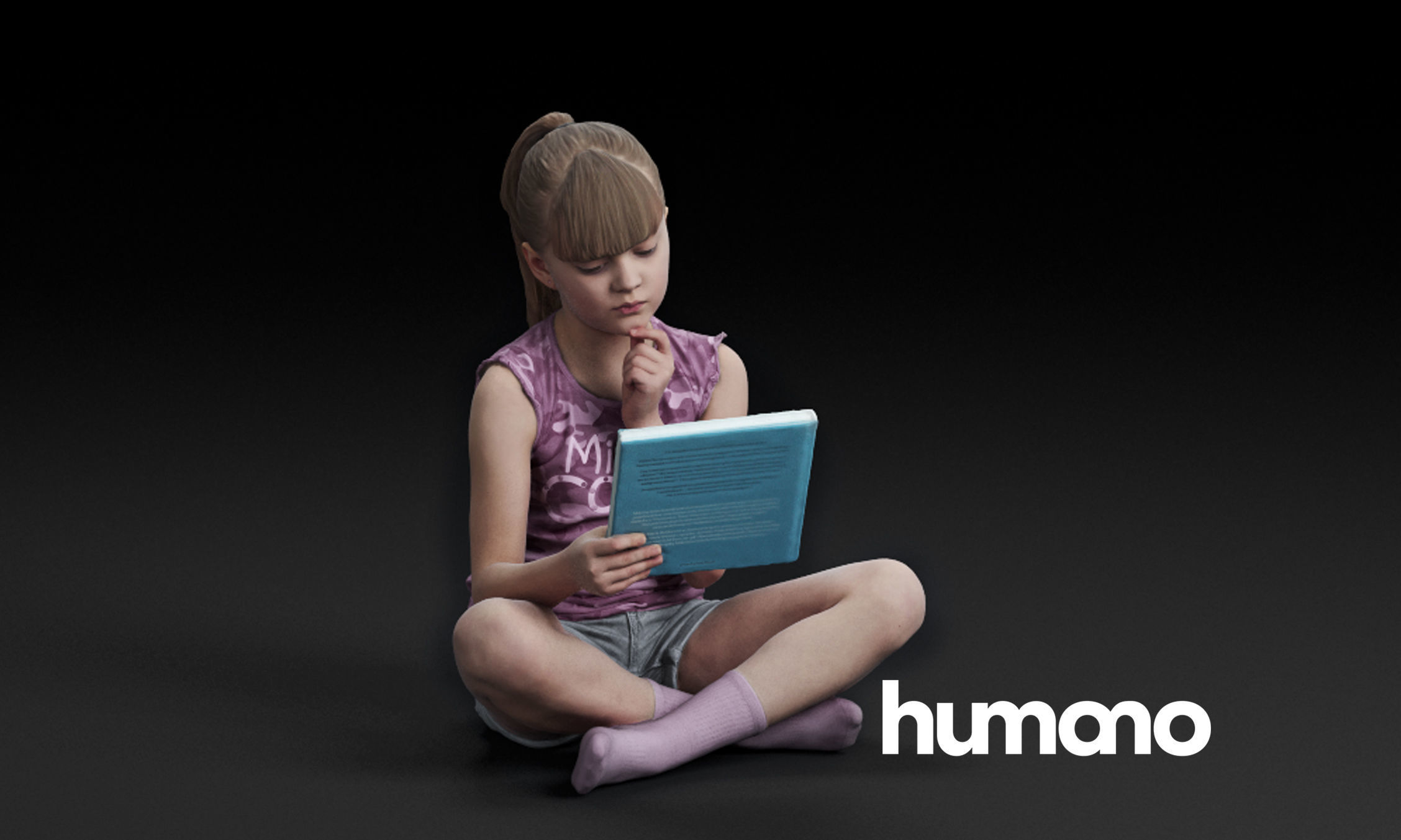 Humano Girl sitting and reading a book 0509