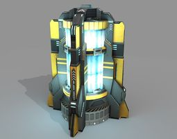 3d model low-poly sci fi power generator PBR animated