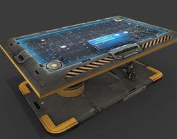 3d model PBR sci fi hologram table realtime