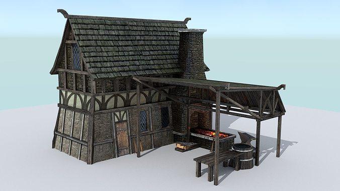 3D asset Medieval Village Blacksmith   CGTrader