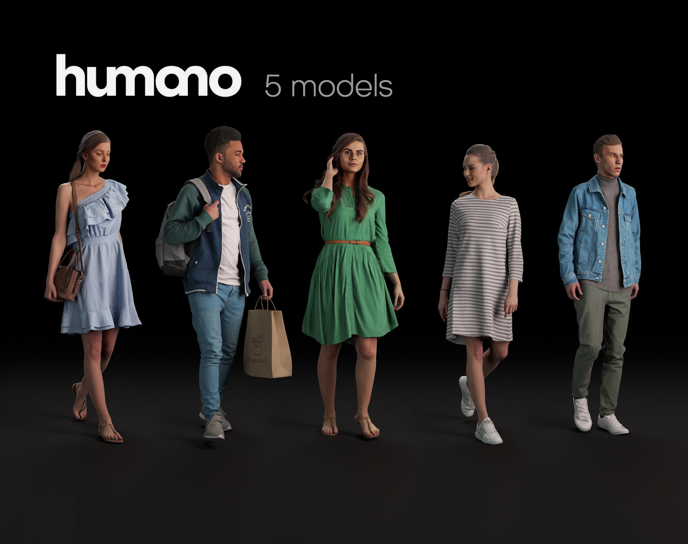 Humano 5-Pack - PEOPLE - DIVERSE - STREET - 5x 3D models 04B