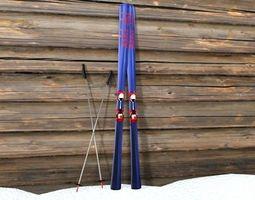 ski and ski pole 3d