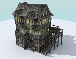 Medieval Town House 3D model realtime
