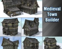 low-poly 3d model medieval town builder