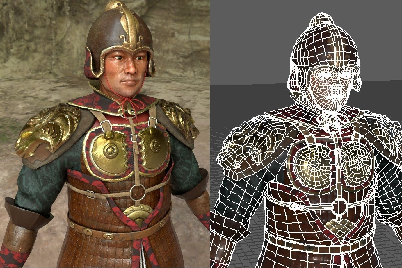 Realistic Traditional Ancient  Asian Warrior Soldier