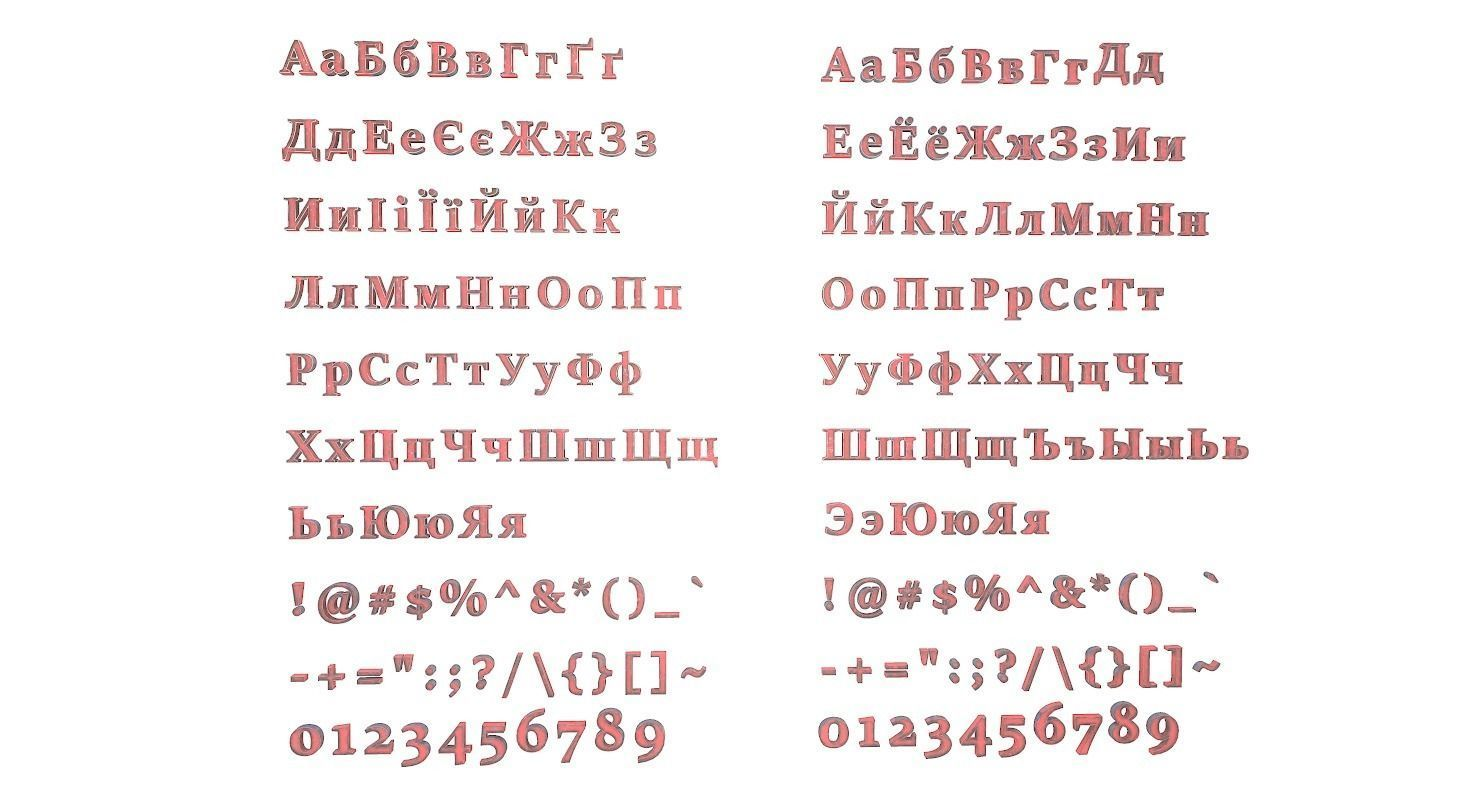 Russian and Ukrainian Letters - Steel Red