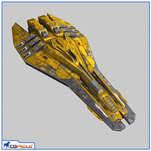 lowpoly starship escort v2 3d model max 1
