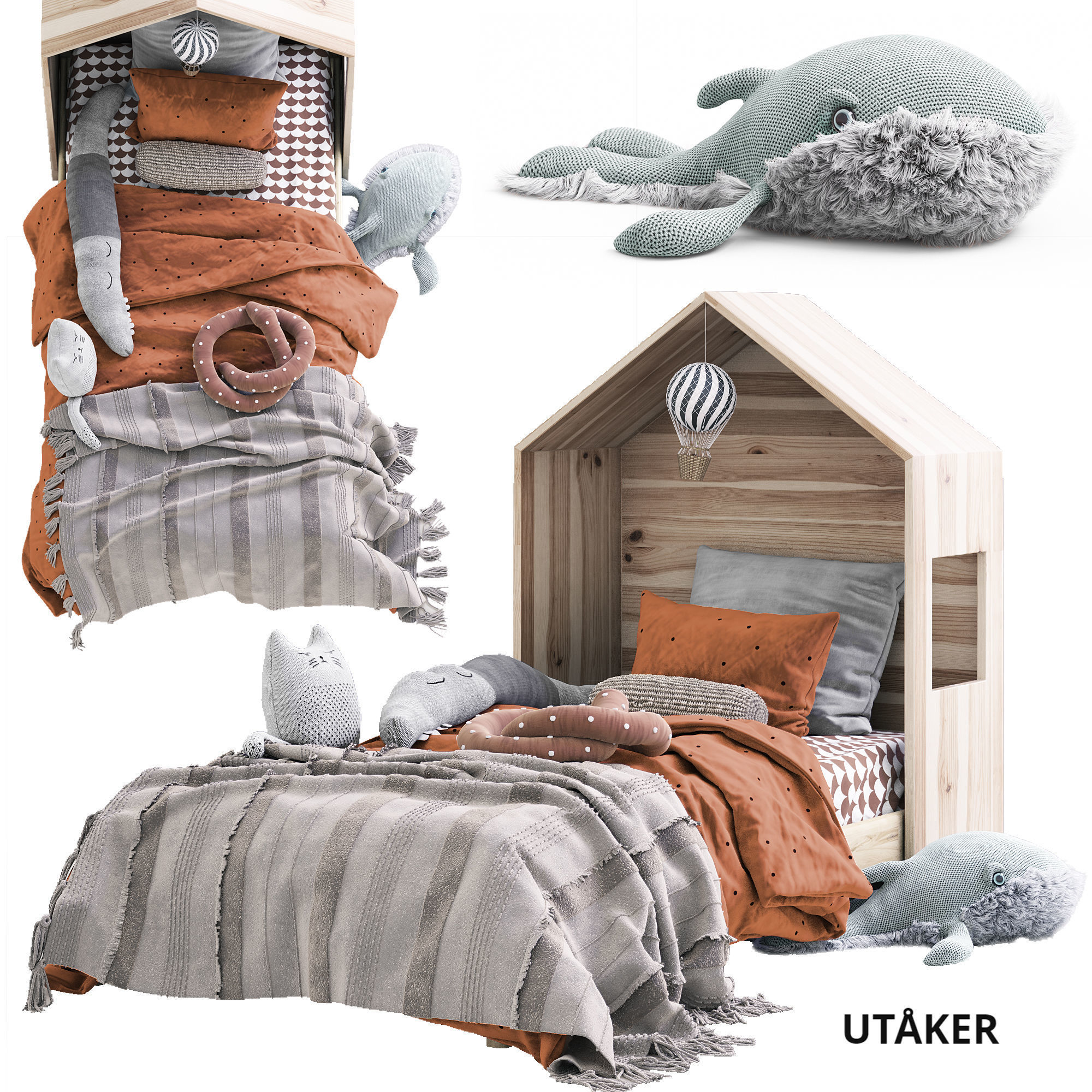 Children Bed Utaker Ikea With Toys 3d Cgtrader