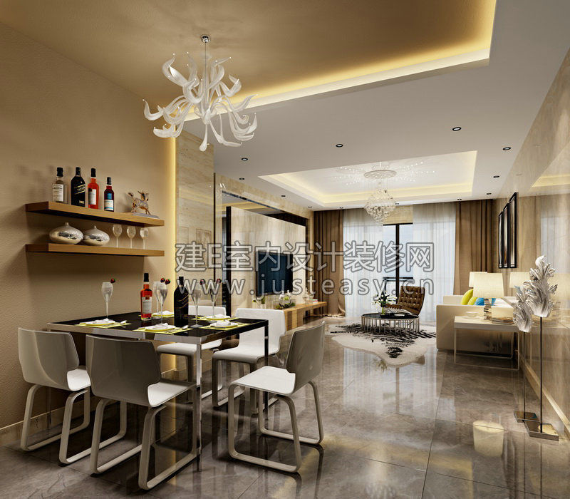 Luxury Living Room Kitchen Bathroom Entran... 3D Model