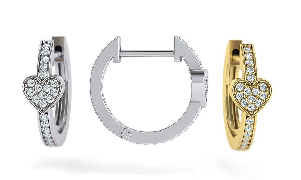 Hoop Earrings 15mm Heart earring printable 3dmodel