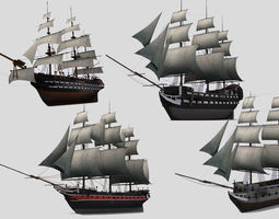 3d asset low-poly military sailing ships
