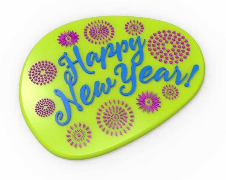 Happy New Year Text Plate