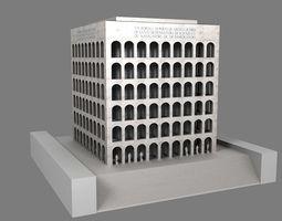 low-poly palazzo della civilta  italiana - square colosseum  3d model
